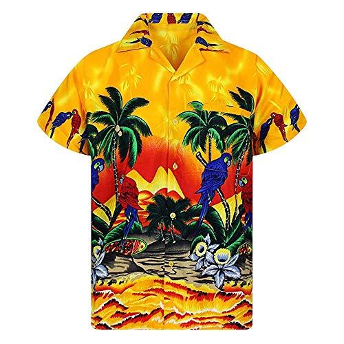 Hawaiihemd Herren Funky Hemd 3D Druck T-Shirts Strand hawei Hemden Sommer Freizeit Shirt Button-Down Button-Down Strandurlaub Kurzarm Freizeithemd Blumen Trainingsshirt Casual Laufshirt -