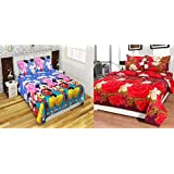 Jass Home Decor Super Home Grace Cotton Combo Set Of 2 King Size Double Bedsheet With 4 Pillow Covers