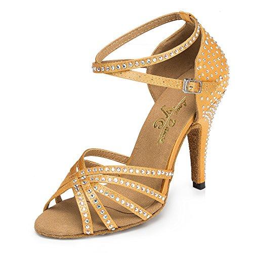 Frauen Kristalle Sparking Satin Latin Salsa Tanzschuhe/Tango / Chacha/Samba / Modern/Jazz Schuhe Sandalen High Heels,Brown7.5cm-UK6/EU39/Our40