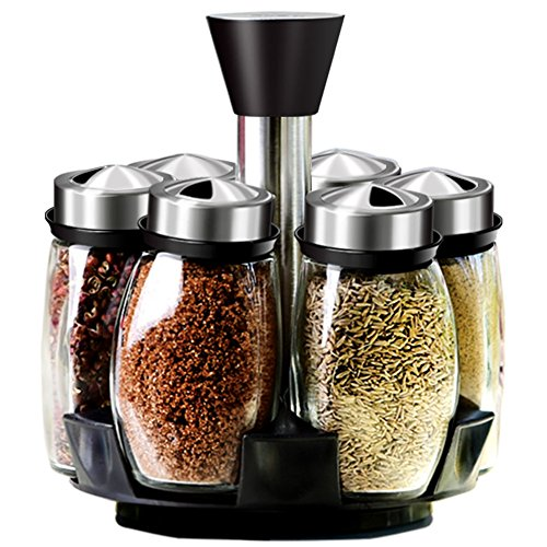 YHANONAL Gewürzregal mit 6 Glas Gewürzbehältern Drehbares Gewürz Gewürzkarussell Gewürzregal für Küchenschrank und Arbeitsfläche