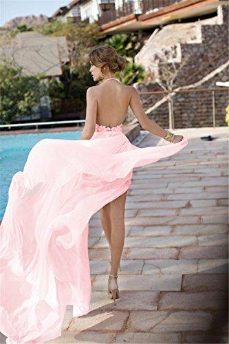 MisShow® Damen Lang Neckholder Rückenfrei Abendkleid Brautjungfernkleid Cocktailkleid 2017 Rosa