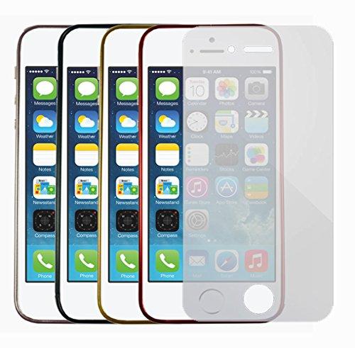 Für Apple iPhone Aluminium Bumper Frame Case Hülle Flip Schutz Cover Rahmen iPhone 5 - 5s Silber + Displayschutzfolie Gold + Displayschutzfolie