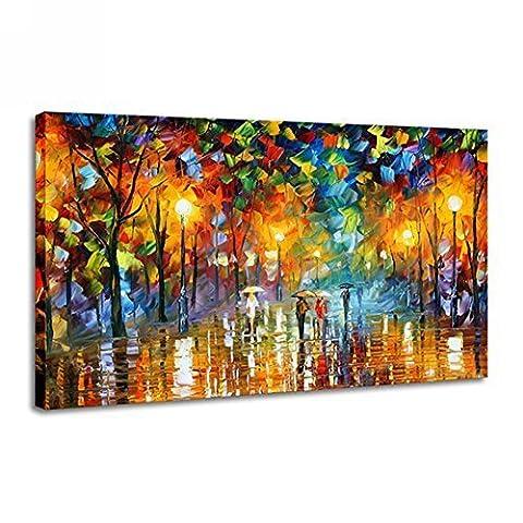 Raybre Art® -100% Peinte à la main Tableaux sur toile - Peintures à l'huile de la rue des Pluies Coloré Art Déco - une pièce toile 61cm x 91cm Sans Cadre pour la Décoration Maison