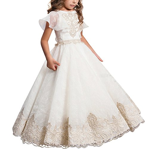 Festliches Mädchen Kleid Pinzessin Kostüm Lange Brautjungfern Kleider Hochzeit Party Festzug Blumenmädchenkleider Karneval Cocktailklei Gr. 104-152#7 Weiß 10-11 Jahre