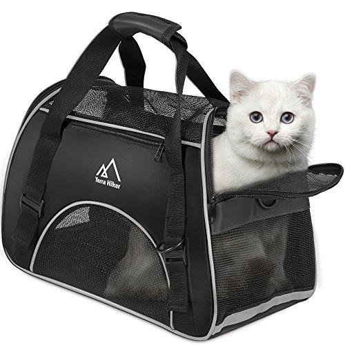 Hundetasche, Terra Hiker Hundetragetasche, Katzentragetasche, Tragetasche Transporttasche Transportbox für Kleine Hunde und Katzen, Meistens 5 KG (Schwarz)