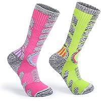 Yolev Chaussettes Chaudes de Ski Femme Chaussettes de Snowboard Neige Sock pour Sport Extérieur - Lot de 2 (Rose &Vert, EU 35-39)
