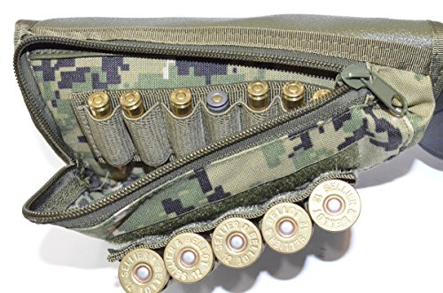 Acid Tactical® Buttstock Shotgun Rifle shell holder & Cheek Rest Pouch Molle (Green Digital Camouflage)