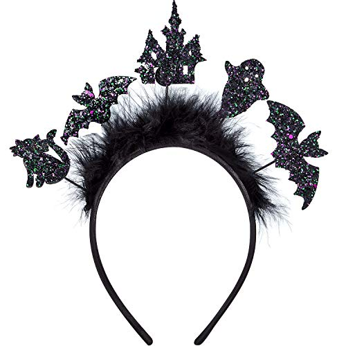 WILLBOND 5 Stücke Halloween Haarband Fledermaus Katze Stirnbänder Halloween Party Kostüme für Frauen Mädchen Cosplay Prop