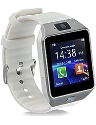 Mokebao Smartwatch portátil Bluetooth GT08, con ranura para tarjeta SIM, para Android Samsung, HTC, LG, Sony (todas las funciones) y dispositivos con iOS iPhone 5/5S/6/Plus (algunas funciones), DZ09 With Camera white, PD-1