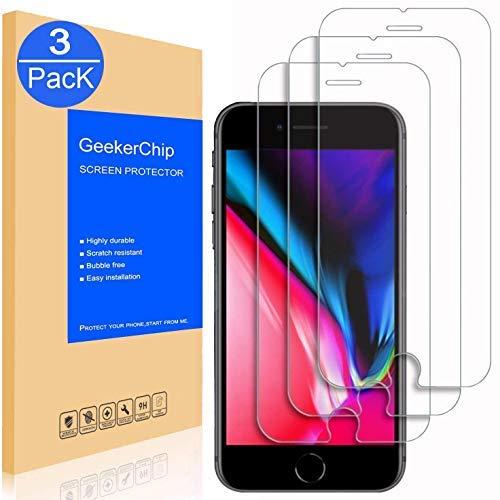 GeekerChip Vetro Temperato per iPhone 8/7 Pellicola Protettiva[3 Pack], Pellicola Protettiva Schermo in Vetro Temperato per iPhone 8/7