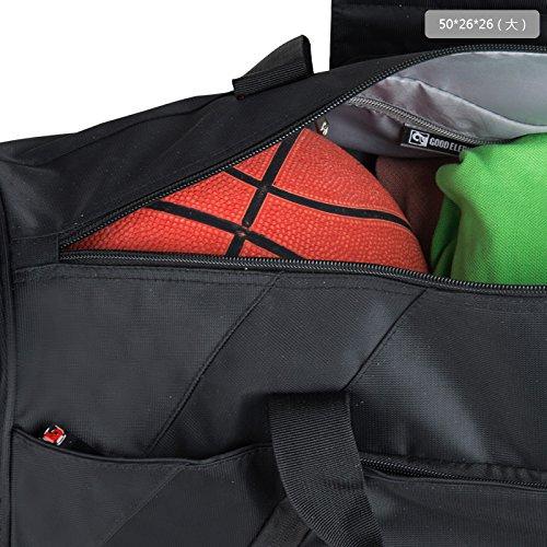 sulandy Unisex Herren Damen Pro groß hellgrau Gewicht Sporttasche Club Team Sporttasche Gym Reisen Arbeit Duffle Weekend Everyday Schulter Equipment Tasche mit verstellbarem Gurt zu halten Schuhe und  schwarz - schwarz
