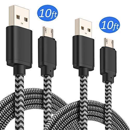 Chargeur de téléphone Android, Best4one 1,8m Micro USB Câble de chargement avec 2.1A/5V Dual Port chargeur mural adaptateur compatible avec Samsung Galaxy S6/S7/S8/S9, J3/J5/J7, Note 4/5, moto Plus