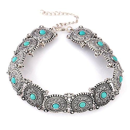 Souarts Damen Vintage Halskette Choker Kette mit Stein Collier Metall Damenkette Party Abendkleid...