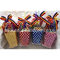 30 Colourful Polka Dot Treat boxes with 30 Cellophane Bags - Party bags party boxes DIY