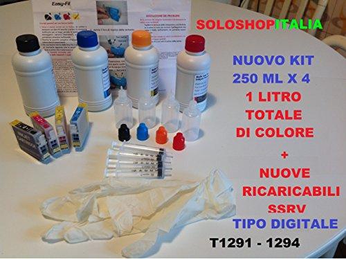 CARTUCCE RICARICABILI PIENE AUTO RESET T1291-1292-1293-1294 + 1 LITRO INCHIOSTRO DI PRONTO USO + 1 LITRO INCHIOSTRO RICARICA + ACCESSORI RICARICA RAPIDA, ISTRUZIONI IN ITALIANO PER STAMPANTI EPSON STYLUS OFFICE B42WD BX305F BX305FW BX305FW Plus BX320FW BX525WD BX535WD BX625 FWDBX630FW BX635FWD BX25FWD BX935FWD SX235 SX235W SX420W SX425W SX430W SX435W SX438W SX440W SX445W SX525WD SX535WD SX620FW WorkForce 525 630 WF-3010DW WF-3520DWF WF-3530DTWF WF-3540DTWF WF-7015 WF-7515 WF-7525