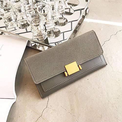 Fyyzg Lange Damen Brieftasche Neue Matte Multi-Card Position europäischen und amerikanischen Mode - grau Langen Abschnitt