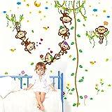 VEIERSIA Wandsticker Kinder Wandtattoo Dschungel Zoo Tier Baum Affe Zum Baby Zimmer Dekoration?152 * 168 cm? Test