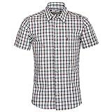 Almsach Herren Kurzarm Trachtenhemd Slim-Fit Slim-Line Trachten-Mode traditionell-kariert s-XXL viele Farben, Größe:L, Farbe-Zweifarbig:Braun/Tanne