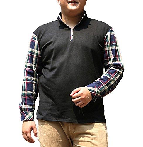 Herren Poloshirt kontrast Polohemd Größe Größe Langarm Originals langarmshirt Kariertes Hemd - XXL/3XL/4XL/5XL/6XL/7XL Schwarz