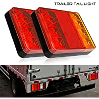 Tropicaleu 2PCS 12v 8 LED Remolque Cola Luces Impermeable Piloto Intermitente y Parking Freno Lámpara para Coche Camión Barco Espec