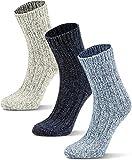 3 Paar Wintersocken mit Schafwolle für Kinder - warme Wollsocken für Jungen und Mädchen Farbe Grau/Blau/Dunkelblau Größe 19-22