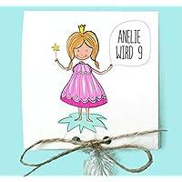 Prinzessin - Einladung Kindergeburtstag inkl. Lollies oder Gummibärchen