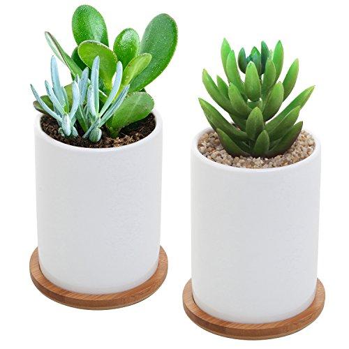 MyGift 10,2 cm Lot de 2 pots en céramique Plante W/amovible en bambou soucoupes, Blanc