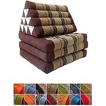 Colchón de meditación tailandés tradicional reclinable, con cojín de respaldo triangular de estilo oriental y