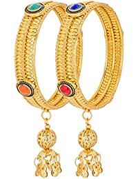 Aadita Ethnic Traditional Gold Plated Kudan Stones Bangles For Women And Girls With Latkan