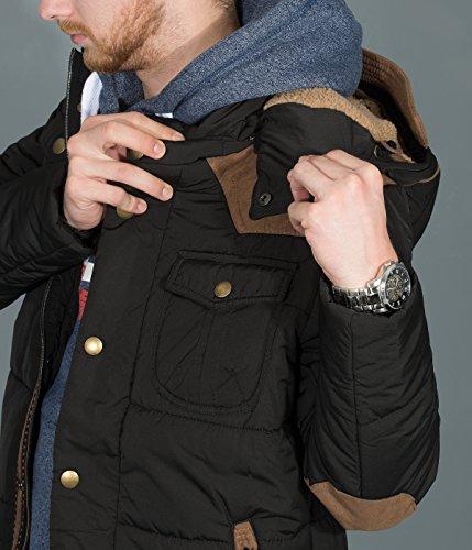 BetterStylz GB Veste Jacket Homme faux duvet fermeture éclair capuche amovible blouson manches longues (M-XXL) Noir/Marron/BLUBLL