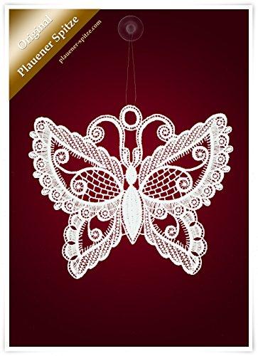 Plauener Spitze Fensterbild Schmetterling mit Ornamenten weiß (Bx H) 20cm * 18cm
