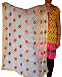 RedBirdFashion Women's Chiffon Dress Material, Free Size (White, RBF-BAL-41)