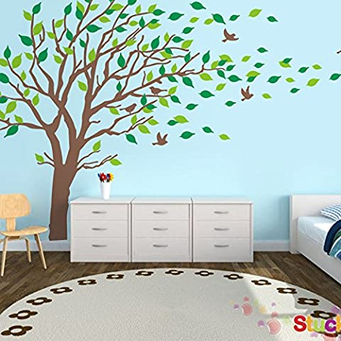 Ferris Store Large Tree Flying Birds Decor PVC Home Bedroom Background Decorations Wall Decal Sticker