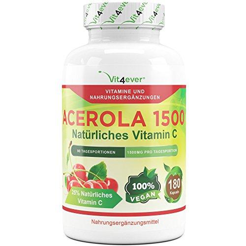 Acerola 1500, natürliches Vitamin C - 180 Kapseln, 1500 mg Acerola Fruchtpulver pro Tagesportion, Hochdosiert mit 25% Vitamin C Anteil, Laborgeprüft, 100% Acerola Kirsche ohne unerwünschte Zusatzstoffe, vegan, Vit4ever (Lebensmittel, 90 Lutschtabletten)