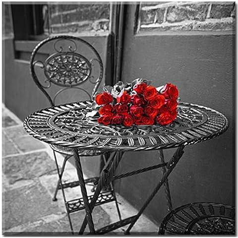 Romantic Roses II, de arte (de bloque de marco de fotos de) en madera, 70 cm x 70 cm, Bastidor de fotografía de Frank Assaf, diseño de rosas, de amor y bot de la caña, salón y las imágenes, de estilo de vida