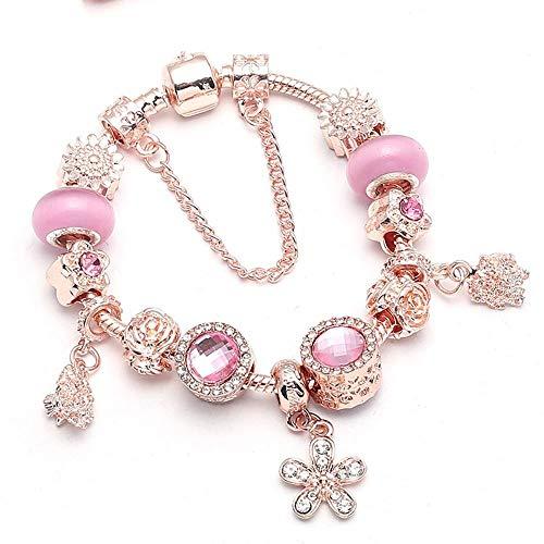 Yisj armband Silber Überzogene Kristall Rose Gold Perlen Charms Armband Für Frauen Mit Sicherheitskette Feines Armband 21 cm