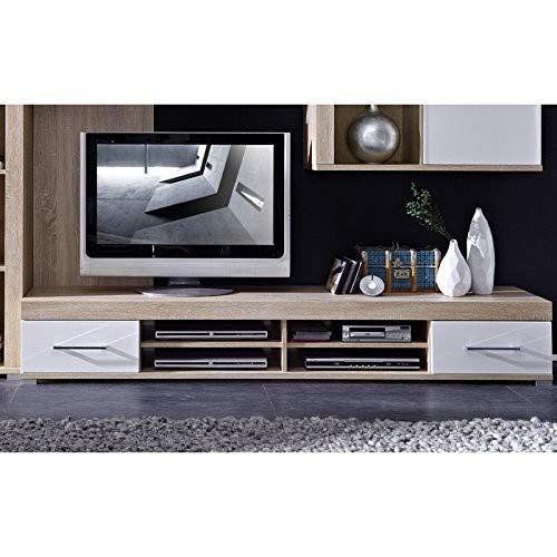 Stella Trading TV-Element Sonoma Eiche hell Nachbildung, weiß Hochganz MDF, ca. 200x31x48 cm TV-Element Schrank Unterteil Kommode fernseherstand fernseherständer, Holz, braun, 48.0 x 200.0 x 31.0 cm