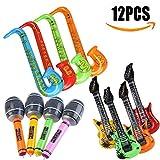 Kwock 12 Stücke Aufblasbare Gitarre Saxophon Mikrofon Luftballons Spielzeug Musikinstrumente Zubehör Partei Liefert Farbe zufällig