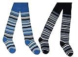 Tobeni 2 Paar schöne warme Thermo Strumpfhosen für Mädchen und Jungen Farbe 1x Jeans 1x Marine Grösse 110-116