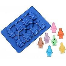 nicebuty silicona LEGO Robot cubo de hielo caja de hielo Chocolate moldes Jelly moldes Candy molde para repostería