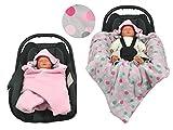 Einschlagdecke für die Babyschale Fußsack für kalte Tage in verschiedenen Farben von HOBEA-Germany, Farben Winterdecken:rosa mit Punkten