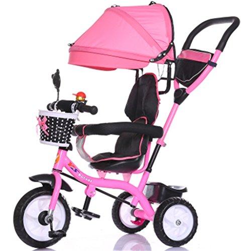 De luxe 4-en-1 Enfant Vélo Tricycle Vélo Vélo Fille Fille pour 6 Mois -6 Ans Bébé Trolley Trois Roues Avec Auvent et Parent Poignée | Amortissement | Roue en plastique solide ( Couleur : Rose )