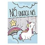 Einhorn-Poster Nö. Einfach Nö. I dv_351_1 I im Format DIN A4 I ohne Bilder-Rahmen I niedliches Print-Plakat für Mädchen