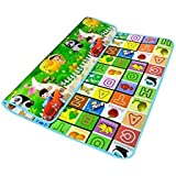 BAYBEE Single Sided Waterproof Baby Play and Crawl Mat with Carry Bag, 6x 6.5-inch (Multicolour)