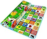 Baybee Premium Quality Double Sided Waterproof Baby Play and Crawl Mat with Carry Bag - 6' x 6.5' inches - Designs and Prints may vary