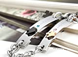 Flongo 2 PCS Only Love Edelstahl Armband Link Handgelenk Silber Schwarz Rose Gold Puzzle Rätsel Panzerkette Kette Herren,Damen