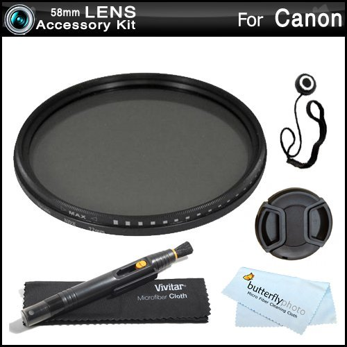Deluxe 58mm NDX Variable Range Neutral Density Fader Filter Kit (Adjustable From ND2-ND1000) For Canon EF 24mm f/2.8 Wide Angle Lens (2506A002) For Canon EOS Rebel T5i T4i T3i T2i T3 SL1 EOS 6D EOS 7D EOS 60D EOS 5D Mark III DSLR + Much More  available at amazon for Rs.4499