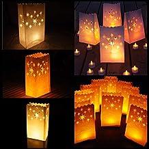 Sac à bougie - Lot de 10 sac de bougie lumière de thé en papier ignifuge décoration - sacs à bougie étoile conception pour Decoration Maison Anniversaire