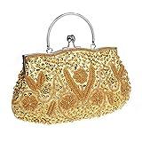 HONGCI Elegant Retro Perlen Damen & Ladies Clutch Bag, Abendtasche \ Clutch Evening Bag \ Bridal Bag \ Wedding Clutch Tasche Handtasche (Golden)