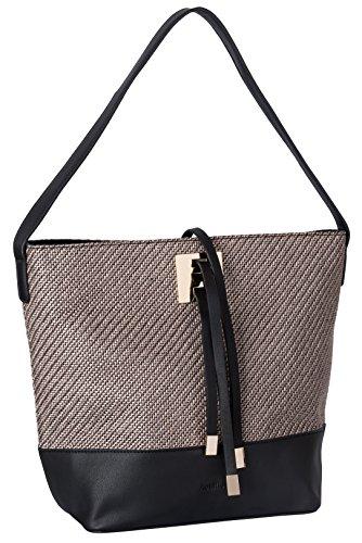 Schultertasche knit textured schwarz